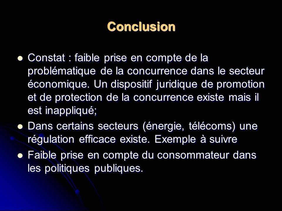 Conclusion Constat : faible prise en compte de la problématique de la concurrence dans le secteur économique. Un dispositif juridique de promotion et