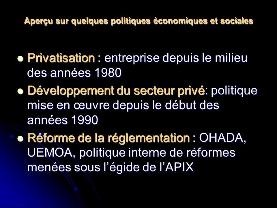 Aperçu sur quelques politiques économiques et sociales Privatisation : entreprise depuis le milieu des années 1980 Privatisation : entreprise depuis le milieu des années 1980 Développement du secteur privé: politique mise en œuvre depuis le début des années 1990 Développement du secteur privé: politique mise en œuvre depuis le début des années 1990 Réforme de la réglementation : OHADA, UEMOA, politique interne de réformes menées sous légide de lAPIX Réforme de la réglementation : OHADA, UEMOA, politique interne de réformes menées sous légide de lAPIX