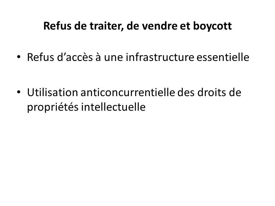 Refus de traiter, de vendre et boycott Refus daccès à une infrastructure essentielle Utilisation anticoncurrentielle des droits de propriétés intellec
