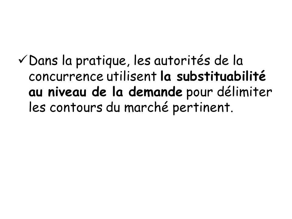 Dans la pratique, les autorités de la concurrence utilisent la substituabilité au niveau de la demande pour délimiter les contours du marché pertinent
