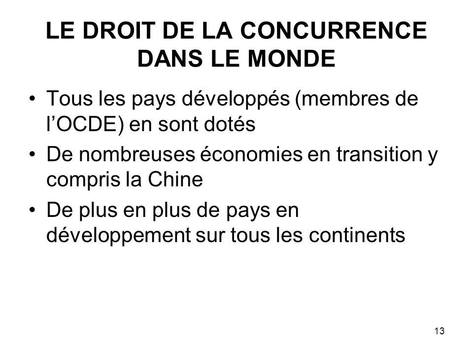 13 LE DROIT DE LA CONCURRENCE DANS LE MONDE Tous les pays développés (membres de lOCDE) en sont dotés De nombreuses économies en transition y compris