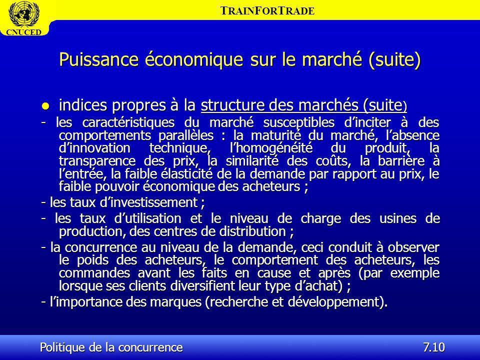 T RAIN F OR T RADE CNUCED Politique de la concurrence7.10 Puissance économique sur le marché (suite) l indices propres à la structure des marchés (sui