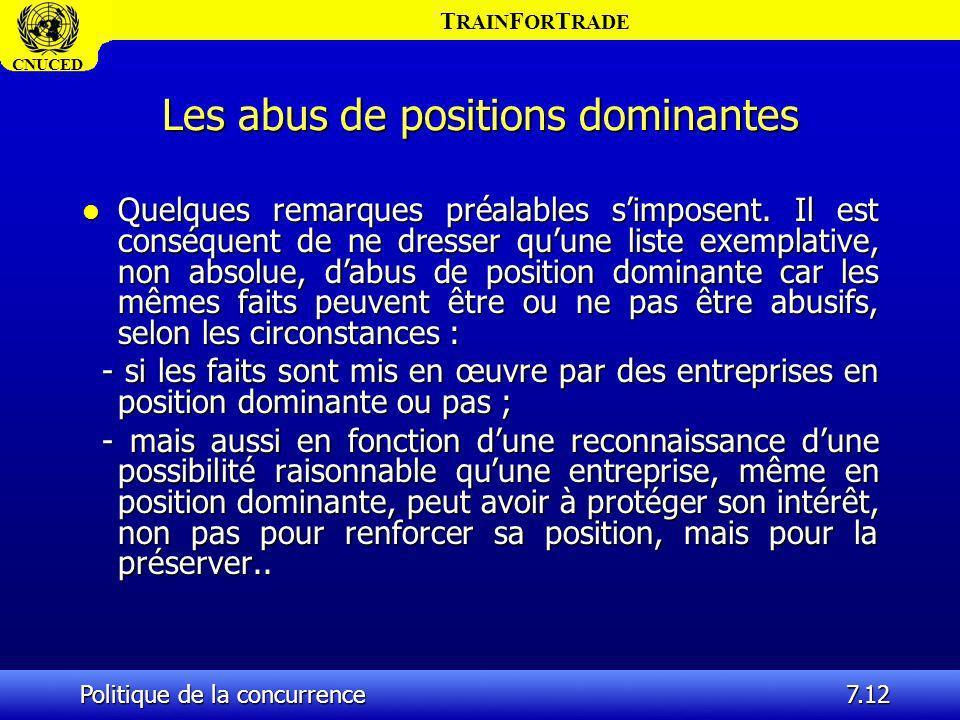 T RAIN F OR T RADE CNUCED Politique de la concurrence7.12 Les abus de positions dominantes l Quelques remarques préalables simposent. Il est conséquen