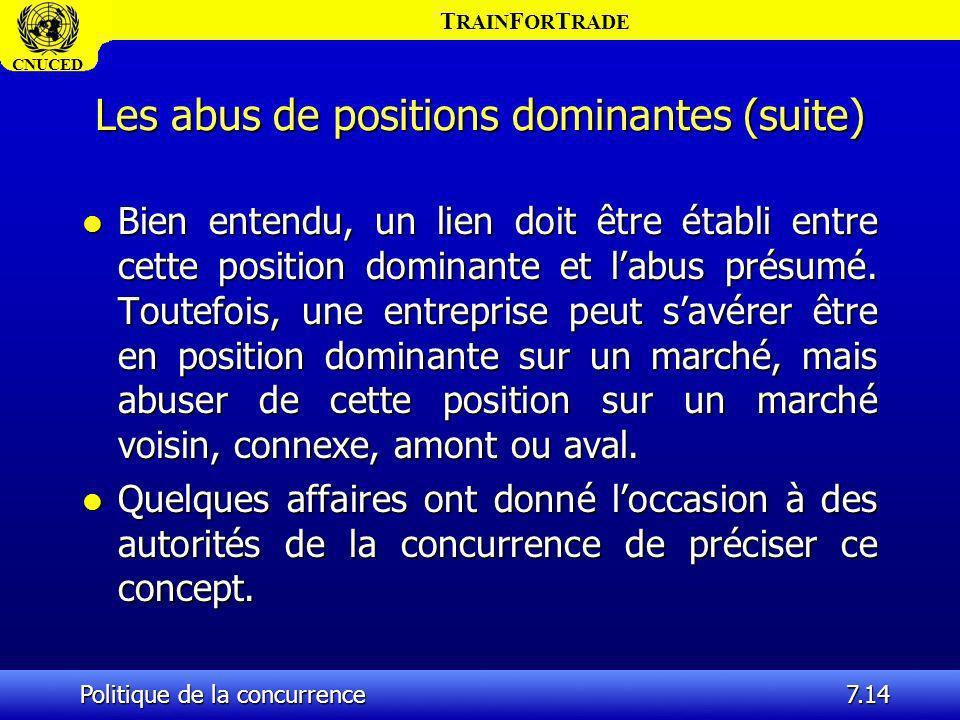 T RAIN F OR T RADE CNUCED Politique de la concurrence7.14 Les abus de positions dominantes (suite) l Bien entendu, un lien doit être établi entre cett