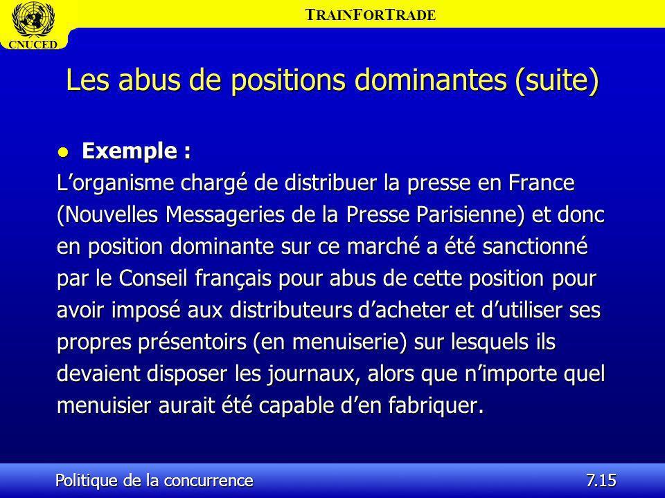 T RAIN F OR T RADE CNUCED Politique de la concurrence7.15 Les abus de positions dominantes (suite) l Exemple : Lorganisme chargé de distribuer la pres