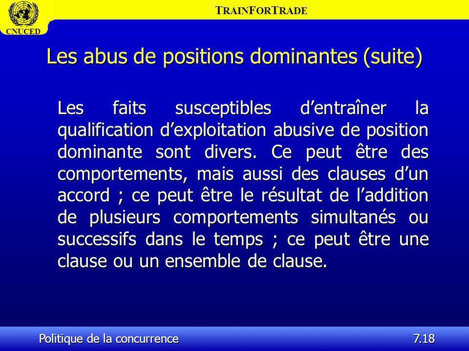 T RAIN F OR T RADE CNUCED Politique de la concurrence7.18 Les abus de positions dominantes (suite) Les faits susceptibles dentraîner la qualification