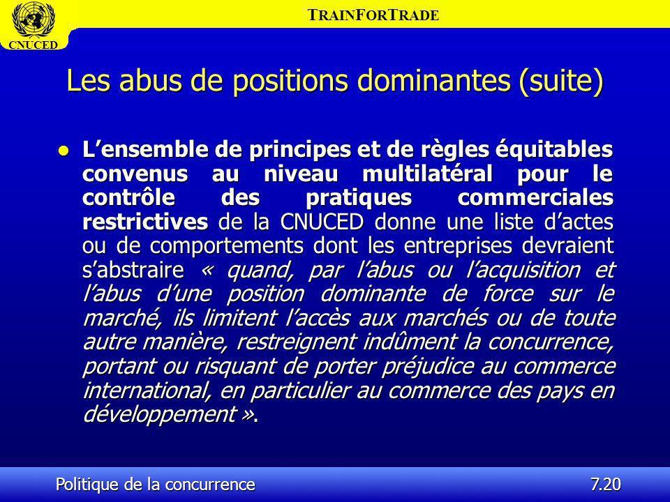 T RAIN F OR T RADE CNUCED Politique de la concurrence7.20 Les abus de positions dominantes (suite) l Lensemble de principes et de règles équitables co