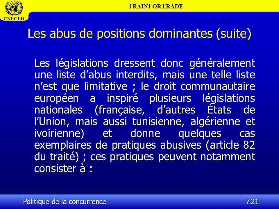 T RAIN F OR T RADE CNUCED Politique de la concurrence7.21 Les abus de positions dominantes (suite) Les législations dressent donc généralement une lis