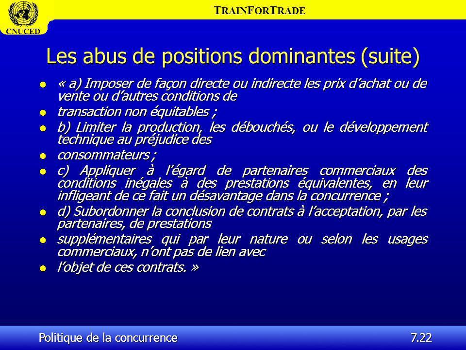 T RAIN F OR T RADE CNUCED Politique de la concurrence7.22 Les abus de positions dominantes (suite) l « a) Imposer de façon directe ou indirecte les pr