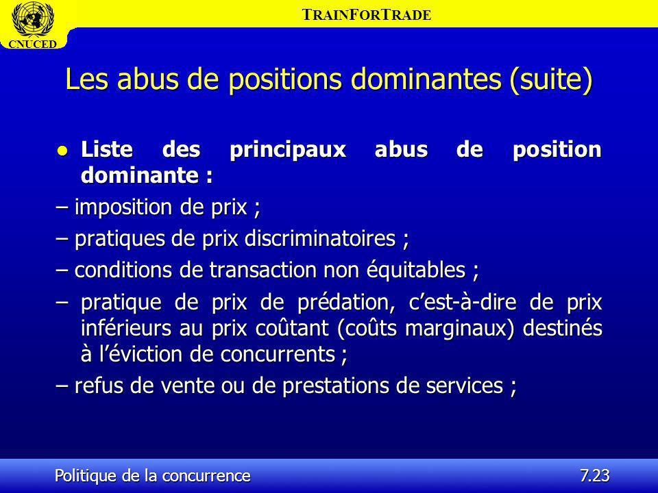 T RAIN F OR T RADE CNUCED Politique de la concurrence7.23 Les abus de positions dominantes (suite) l Liste des principaux abus de position dominante :