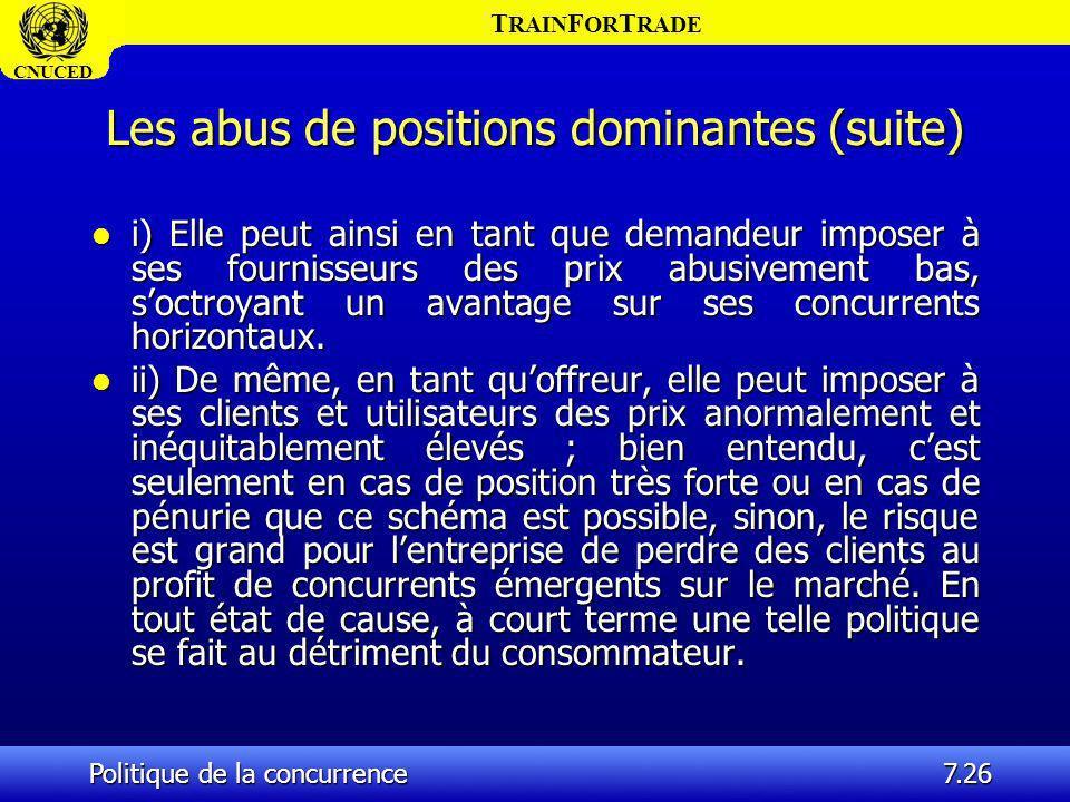 T RAIN F OR T RADE CNUCED Politique de la concurrence7.26 Les abus de positions dominantes (suite) l i) Elle peut ainsi en tant que demandeur imposer