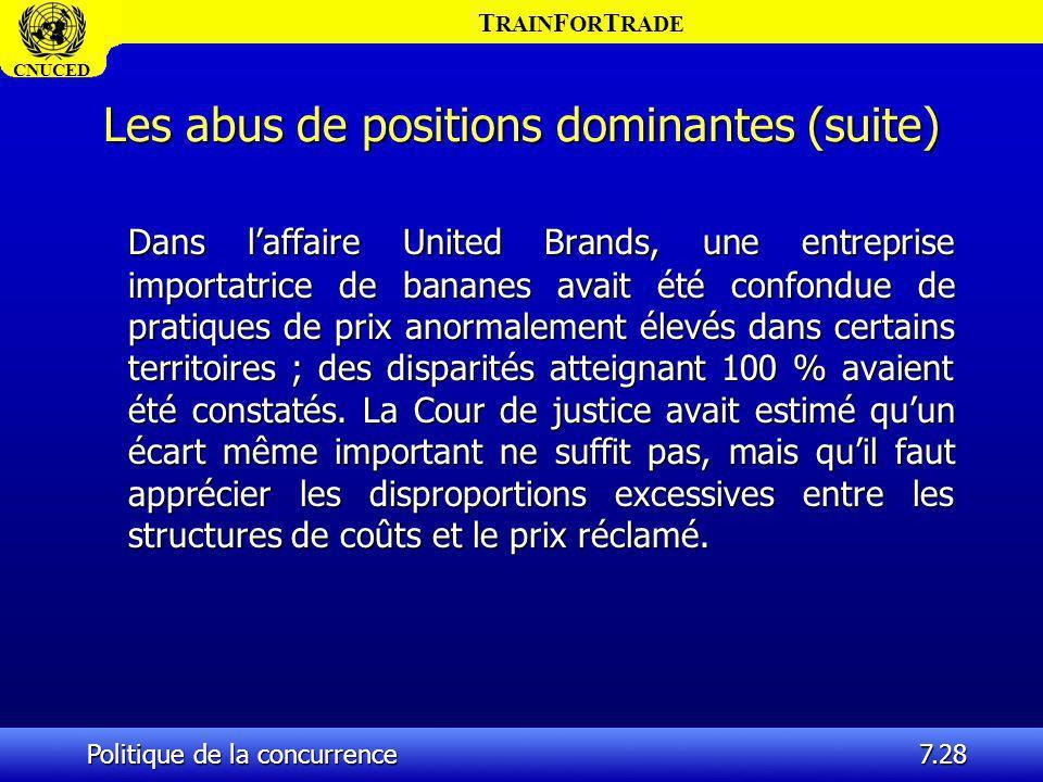 T RAIN F OR T RADE CNUCED Politique de la concurrence7.28 Les abus de positions dominantes (suite) Dans laffaire United Brands, une entreprise importa