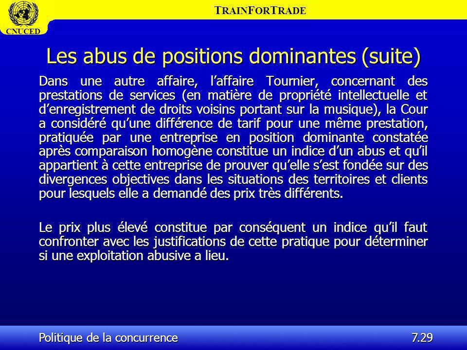 T RAIN F OR T RADE CNUCED Politique de la concurrence7.29 Les abus de positions dominantes (suite) Dans une autre affaire, laffaire Tournier, concerna