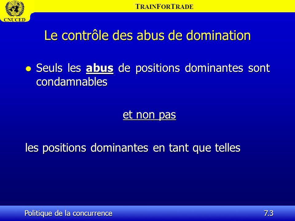 T RAIN F OR T RADE CNUCED Politique de la concurrence7.14 Les abus de positions dominantes (suite) l Bien entendu, un lien doit être établi entre cette position dominante et labus présumé.