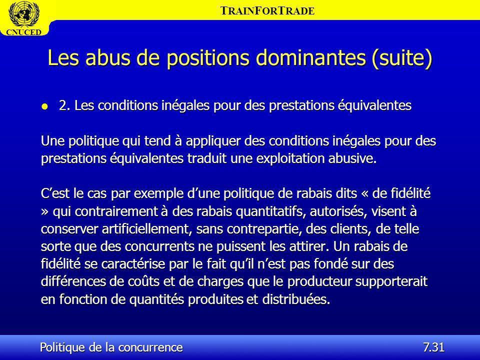 T RAIN F OR T RADE CNUCED Politique de la concurrence7.31 Les abus de positions dominantes (suite) l 2. Les conditions inégales pour des prestations é