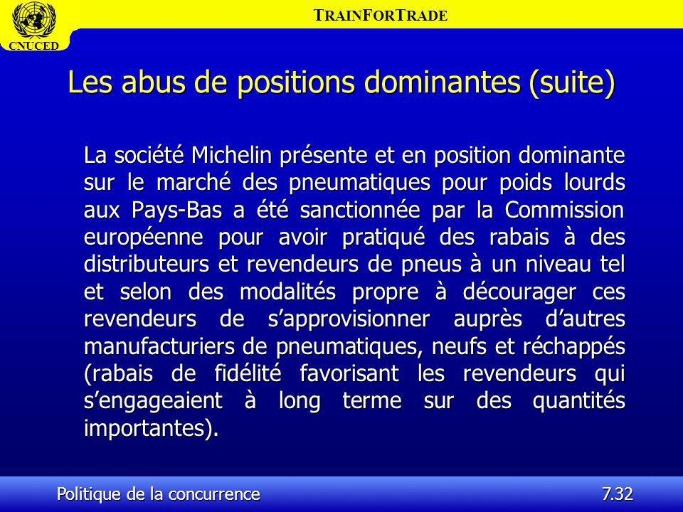T RAIN F OR T RADE CNUCED Politique de la concurrence7.32 Les abus de positions dominantes (suite) La société Michelin présente et en position dominan