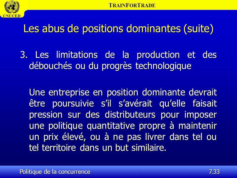 T RAIN F OR T RADE CNUCED Politique de la concurrence7.33 Les abus de positions dominantes (suite) 3. Les limitations de la production et des débouché