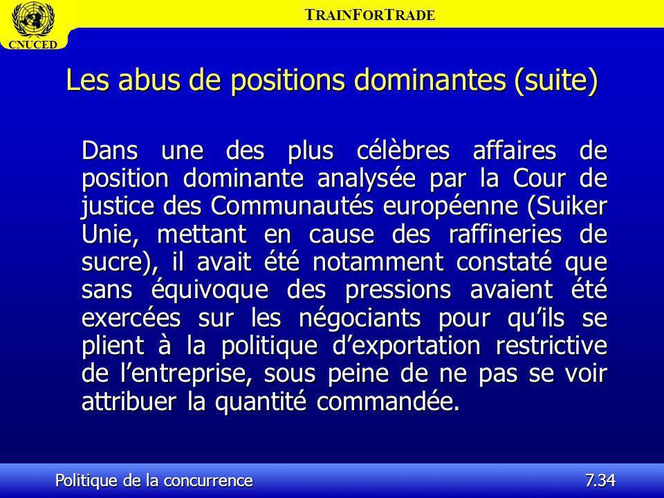 T RAIN F OR T RADE CNUCED Politique de la concurrence7.34 Les abus de positions dominantes (suite) Dans une des plus célèbres affaires de position dom