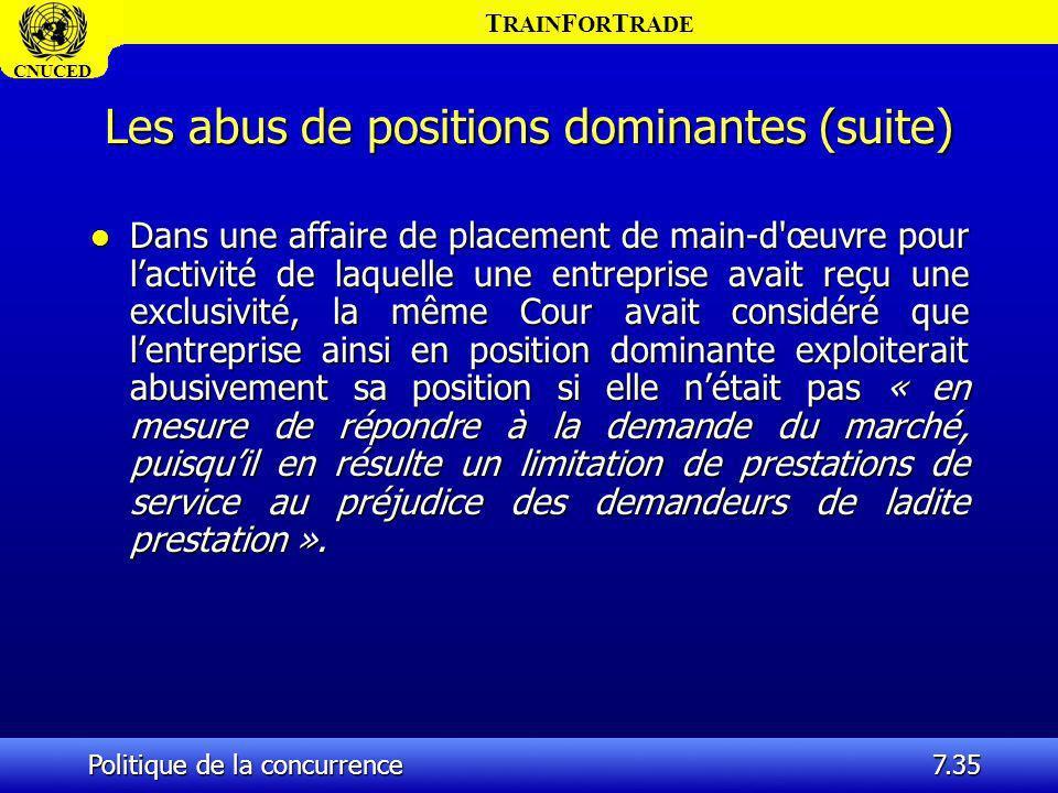 T RAIN F OR T RADE CNUCED Politique de la concurrence7.35 Les abus de positions dominantes (suite) l Dans une affaire de placement de main-d'œuvre pou