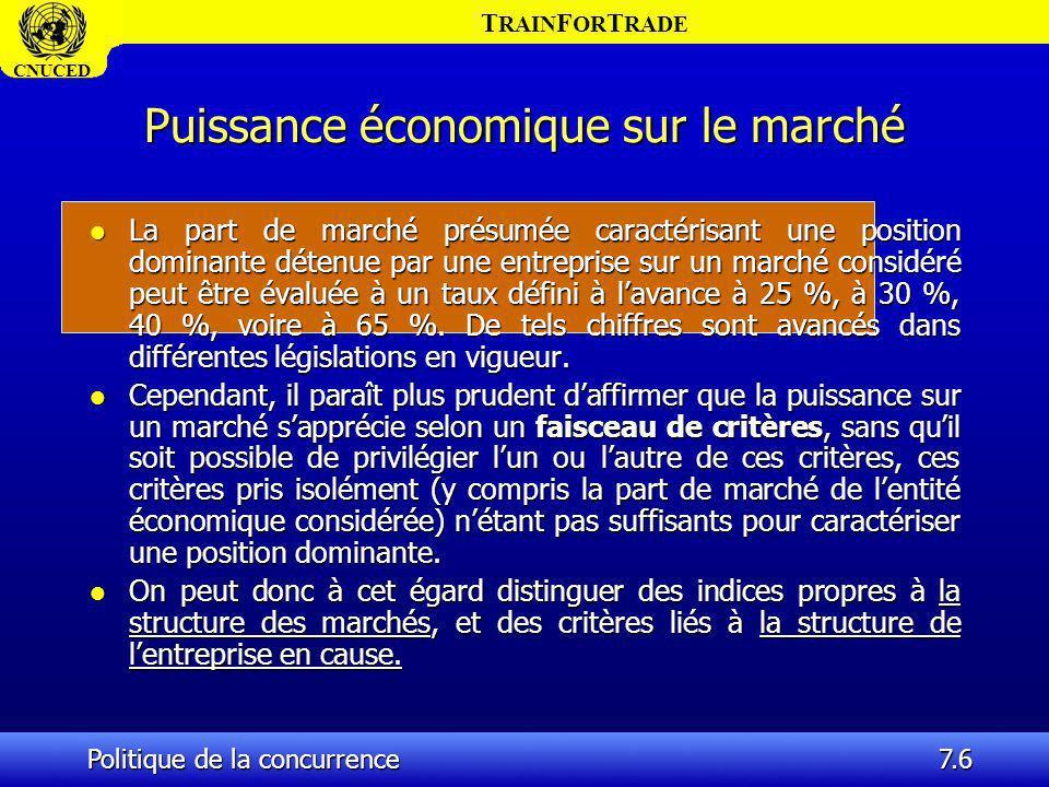 T RAIN F OR T RADE CNUCED Politique de la concurrence7.6 Puissance économique sur le marché l La part de marché présumée caractérisant une position do