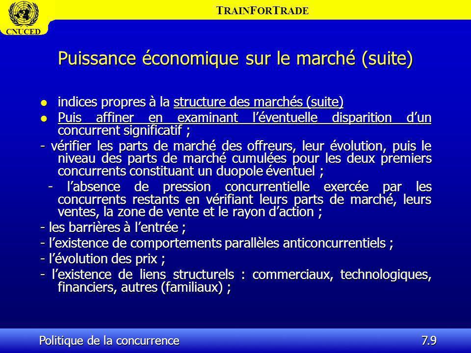T RAIN F OR T RADE CNUCED Politique de la concurrence7.9 Puissance économique sur le marché (suite) l indices propres à la structure des marchés (suit
