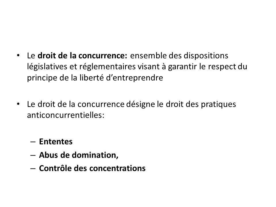 Le droit de la concurrence: ensemble des dispositions législatives et réglementaires visant à garantir le respect du principe de la liberté dentrepren
