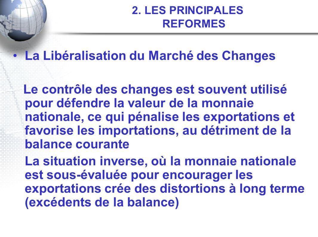 2. LES PRINCIPALES REFORMES La Libéralisation du Marché des Changes Le contrôle des changes est souvent utilisé pour défendre la valeur de la monnaie