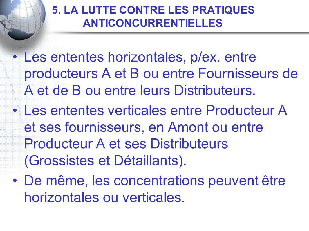 5. LA LUTTE CONTRE LES PRATIQUES ANTICONCURRENTIELLES Les ententes horizontales, p/ex. entre producteurs A et B ou entre Fournisseurs de A et de B ou
