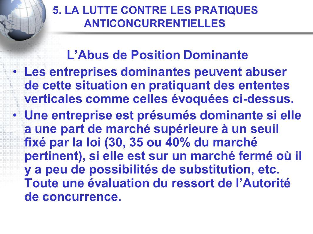 5. LA LUTTE CONTRE LES PRATIQUES ANTICONCURRENTIELLES LAbus de Position Dominante Les entreprises dominantes peuvent abuser de cette situation en prat