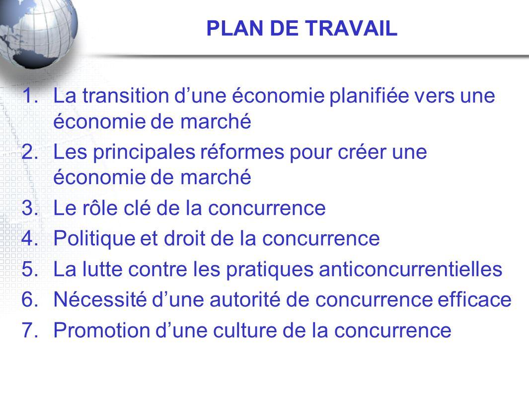PLAN DE TRAVAIL 1.La transition dune économie planifiée vers une économie de marché 2.Les principales réformes pour créer une économie de marché 3.Le