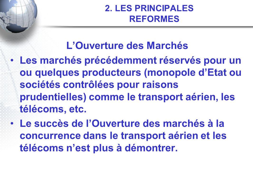 2. LES PRINCIPALES REFORMES LOuverture des Marchés Les marchés précédemment réservés pour un ou quelques producteurs (monopole dEtat ou sociétés contr