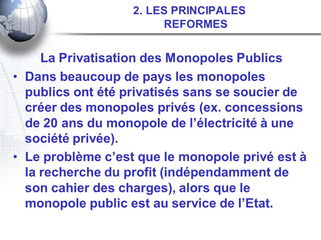 2. LES PRINCIPALES REFORMES La Privatisation des Monopoles Publics Dans beaucoup de pays les monopoles publics ont été privatisés sans se soucier de c