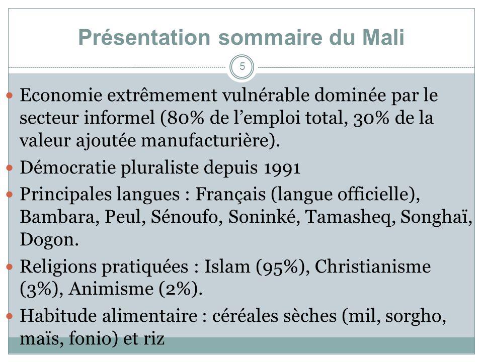 Présentation sommaire du Mali Economie extrêmement vulnérable dominée par le secteur informel (80% de lemploi total, 30% de la valeur ajoutée manufacturière).