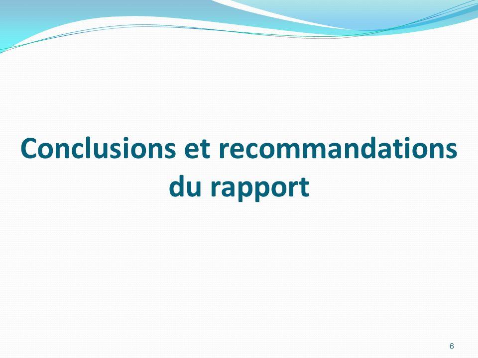 Conclusions et recommandations du rapport 6