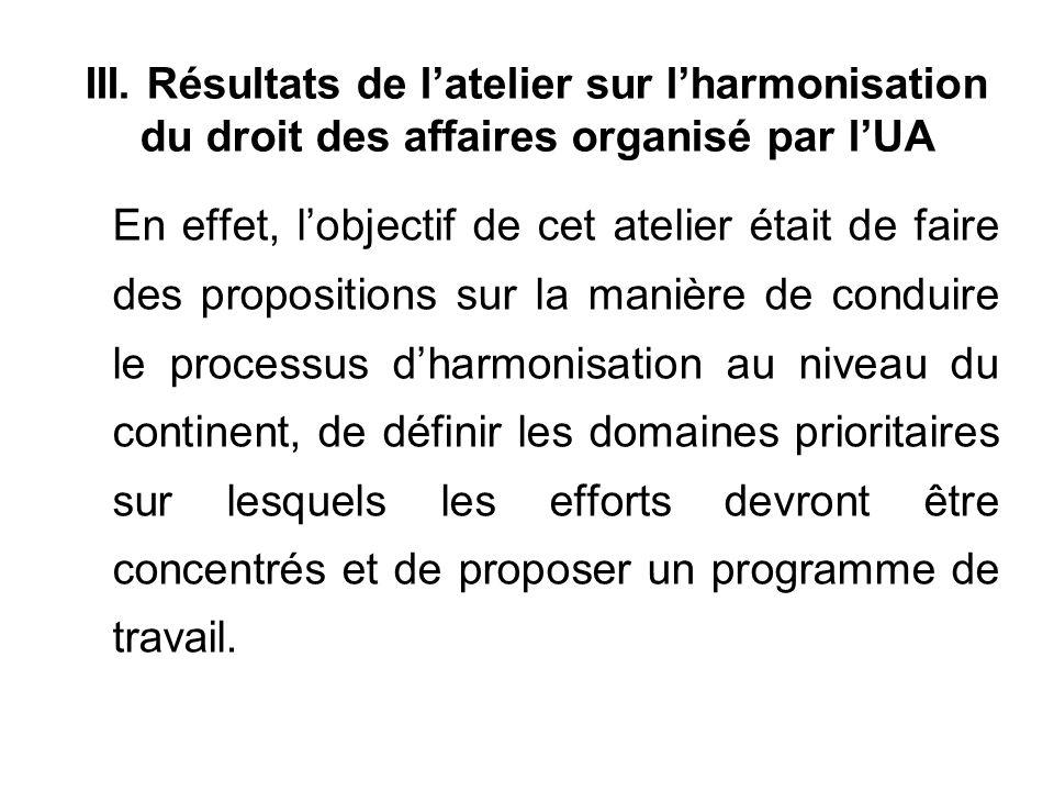 III. Résultats de latelier sur lharmonisation du droit des affaires organisé par lUA En effet, lobjectif de cet atelier était de faire des proposition