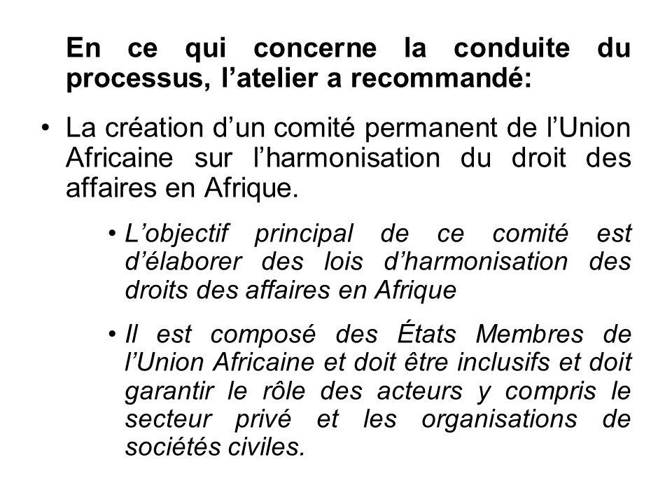 En ce qui concerne la conduite du processus, latelier a recommandé: La création dun comité permanent de lUnion Africaine sur lharmonisation du droit des affaires en Afrique.