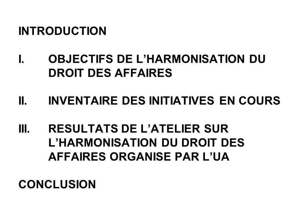 INTRODUCTION I. OBJECTIFS DE LHARMONISATION DU DROIT DES AFFAIRES II.