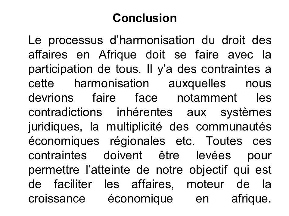 Conclusion Le processus dharmonisation du droit des affaires en Afrique doit se faire avec la participation de tous.