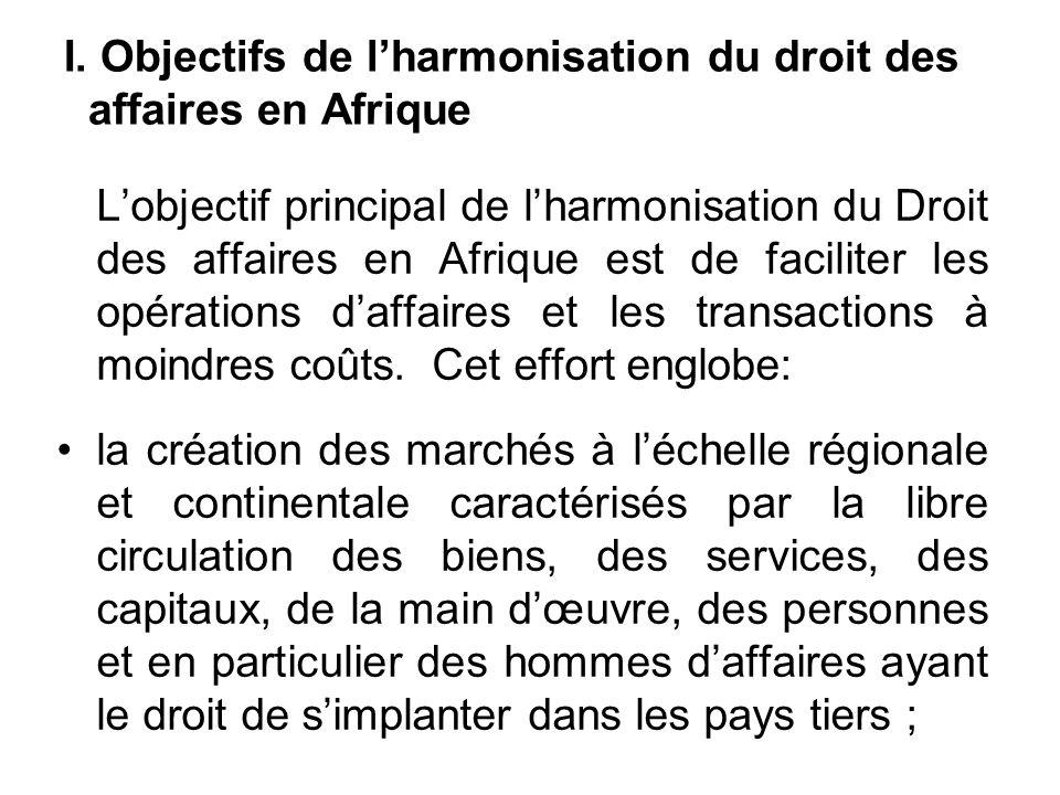 I. Objectifs de lharmonisation du droit des affaires en Afrique Lobjectif principal de lharmonisation du Droit des affaires en Afrique est de facilite