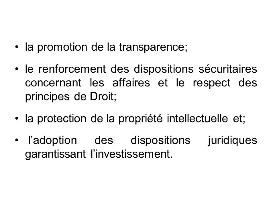 la promotion de la transparence; le renforcement des dispositions sécuritaires concernant les affaires et le respect des principes de Droit; la protection de la propriété intellectuelle et; ladoption des dispositions juridiques garantissant linvestissement.