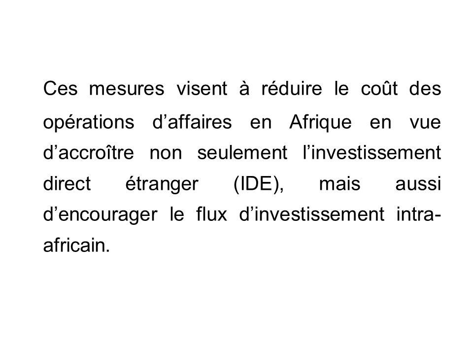 Ces mesures visent à réduire le coût des opérations daffaires en Afrique en vue daccroître non seulement linvestissement direct étranger (IDE), mais aussi dencourager le flux dinvestissement intra- africain.