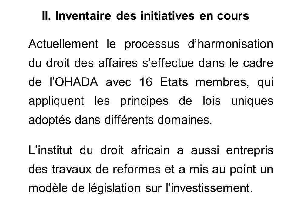 II. Inventaire des initiatives en cours Actuellement le processus dharmonisation du droit des affaires seffectue dans le cadre de lOHADA avec 16 Etats