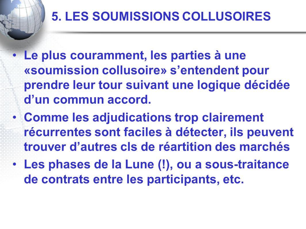 5. LES SOUMISSIONS COLLUSOIRES Le plus couramment, les parties à une «soumission collusoire» sentendent pour prendre leur tour suivant une logique déc