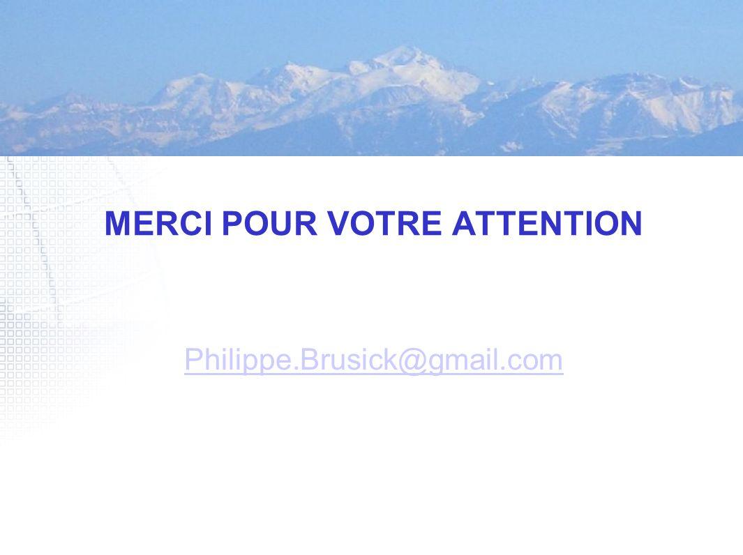 MERCI POUR VOTRE ATTENTION Philippe.Brusick@gmail.com