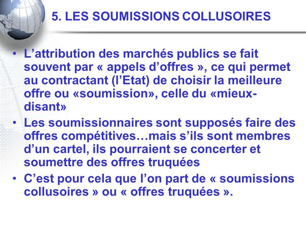 5. LES SOUMISSIONS COLLUSOIRES Lattribution des marchés publics se fait souvent par « appels doffres », ce qui permet au contractant (lEtat) de choisi