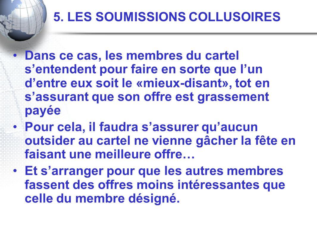 5. LES SOUMISSIONS COLLUSOIRES Dans ce cas, les membres du cartel sentendent pour faire en sorte que lun dentre eux soit le «mieux-disant», tot en sas