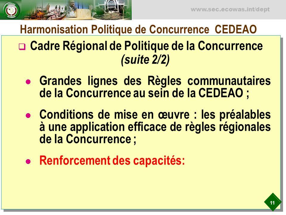 11 www.sec.ecowas.int/dept Harmonisation Politique de Concurrence CEDEAO Cadre Régional de Politique de la Concurrence (suite 2/2) Grandes lignes des