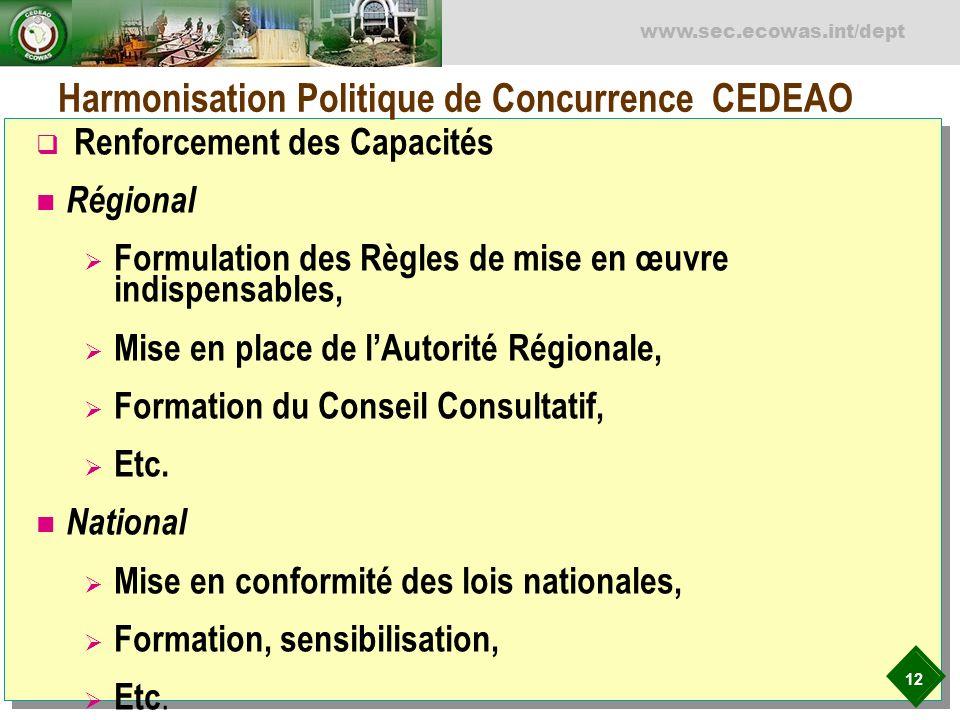 12 www.sec.ecowas.int/dept Harmonisation Politique de Concurrence CEDEAO Renforcement des Capacités Régional Formulation des Règles de mise en œuvre i