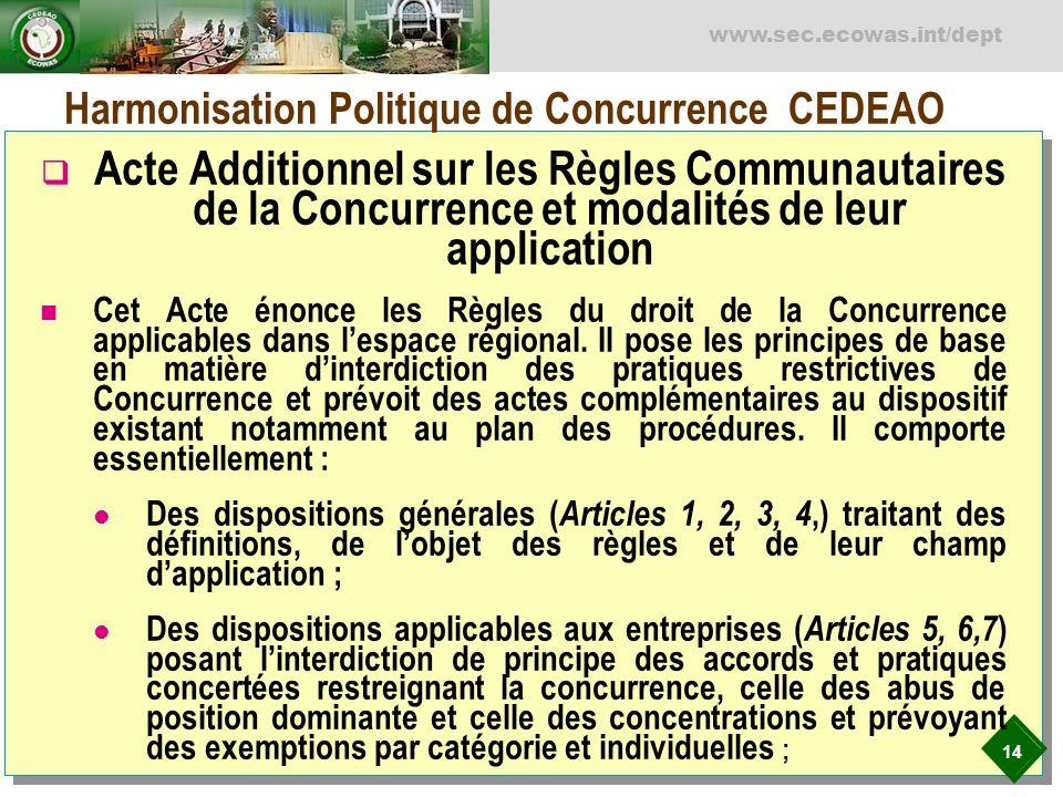 14 www.sec.ecowas.int/dept Harmonisation Politique de Concurrence CEDEAO Acte Additionnel sur les Règles Communautaires de la Concurrence et modalités