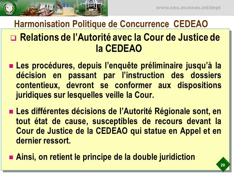 20 www.sec.ecowas.int/dept Harmonisation Politique de Concurrence CEDEAO Relations de lAutorité avec la Cour de Justice de la CEDEAO Les procédures, d